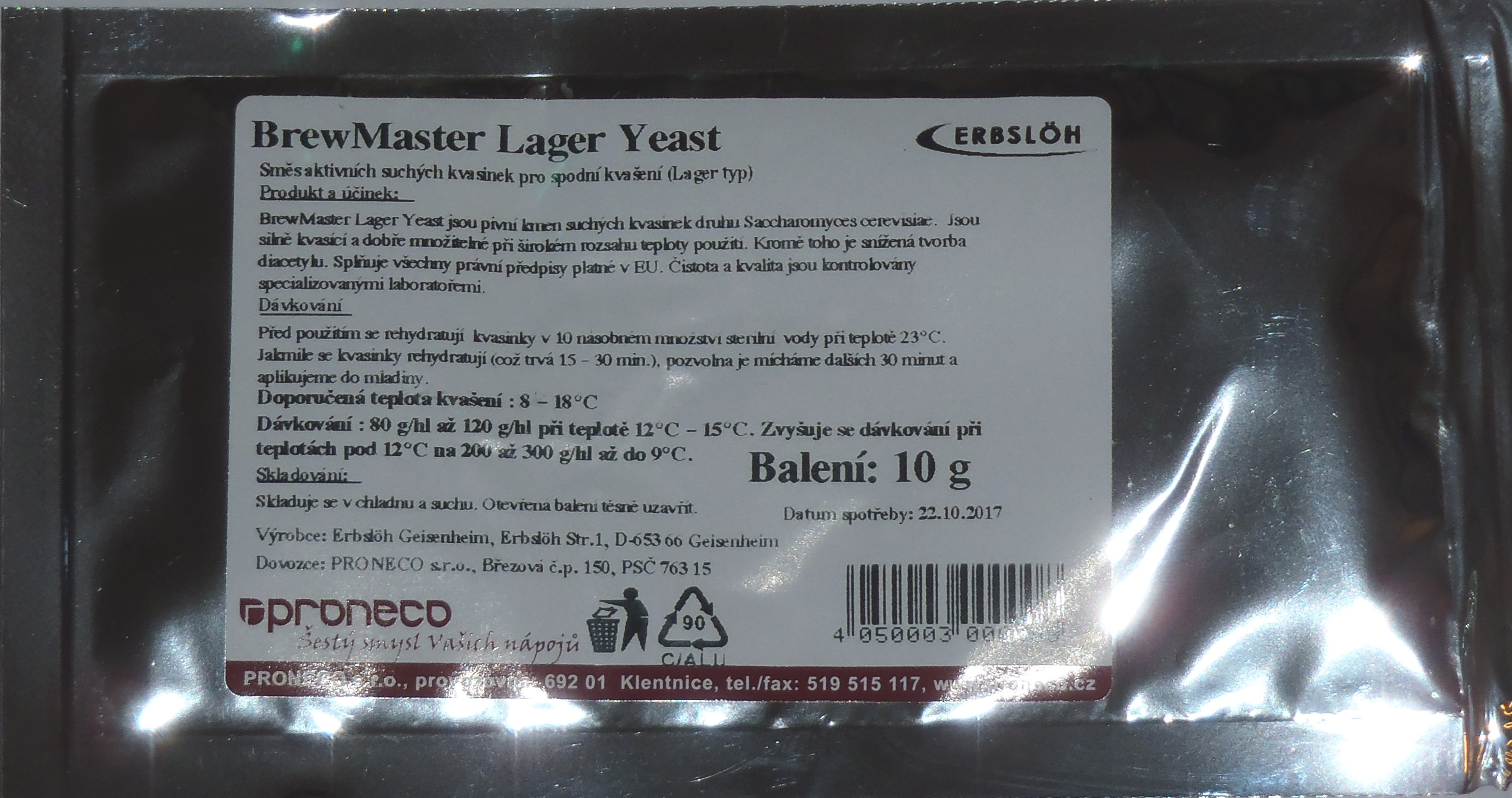 BrewMaster Lager Yeast 10g